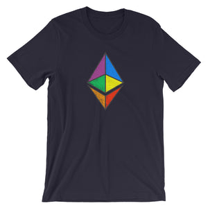 Ethereum Rainbow Colored Logo (Distressed) Crypto ETH Short-Sleeve Unisex T-Shirt