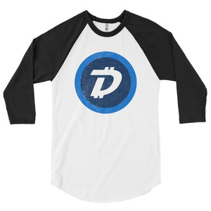 Digibyte DGB Distressed Logo Symbol Cryptocurrency American Apparel Shirt 3/4 sleeve raglan shirt