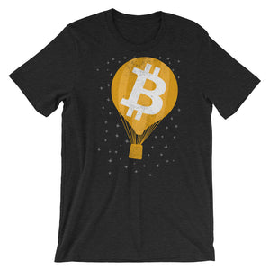 Bitcoin Hot Air Balloon in the Stars Vintage Look BTC Cryptocurrency Tshirt | Short-Sleeve Unisex T-Shirt