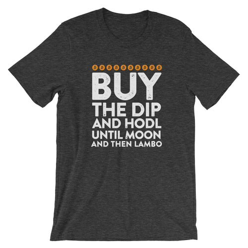 Bitcoin Buy The Dip, Hodl, Moon, Lambo Tshirt - Black t shirt