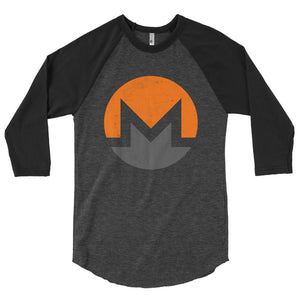 Monero Logo Symbol (Distressed) 3/4 sleeve raglan shirt