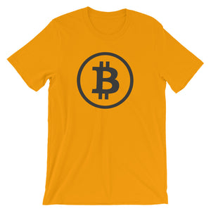 Bitcoin Logo Simple Rounded Symbol Tshirt - Yellow T shirt
