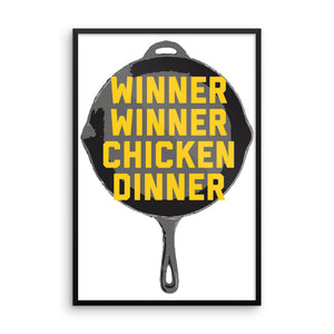 Winner Winner Chicken Dinner Pan PlayerUnknown's Battlegrounds PUBG Framed photo paper poster