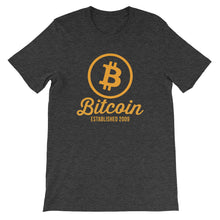 Bitcoin Circle Logo Established 2009 Tshirt | Grey t shirt