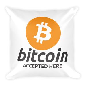 Bitcoin Accepted Here Logo / Symbol Square Pillow
