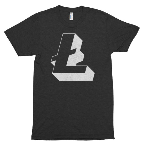 Litecoin 3D (Distressed) Logo Symbol Tshirt | Short sleeve soft t-shirt