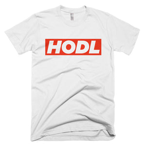 HODL Red Box Bitcoin Crypto Shirt American Apparel Short-Sleeve T-Shirt