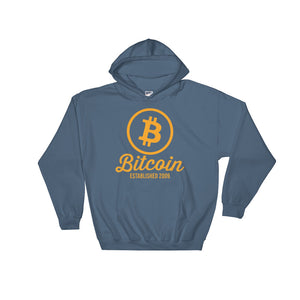 Bitcoin Logo Established 2009 Hoodie | Blue Hooded Sweater