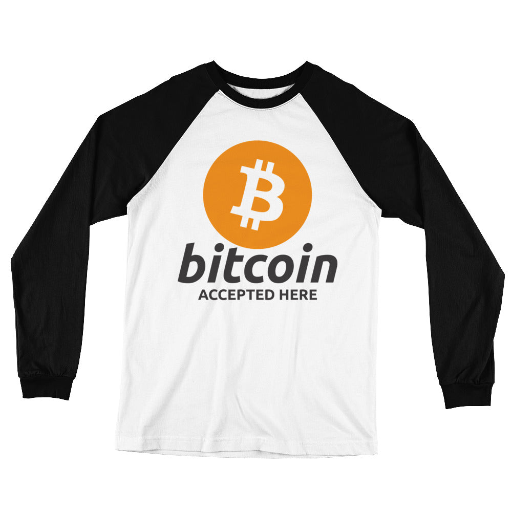 Bitcoin Accepted Here Long Sleeve Baseball T-Shirt