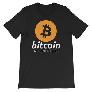 Bitcoin Accepted Here Logo / Symbol Heather Black tshirt
