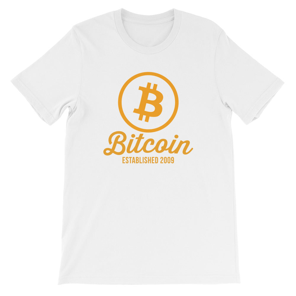 Bitcoin Circle Logo Established 2009 Tshirt | White t shirt
