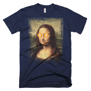 Mona Lisa Bitcoin BTC Funny Shirt Short-Sleeve T-Shirt