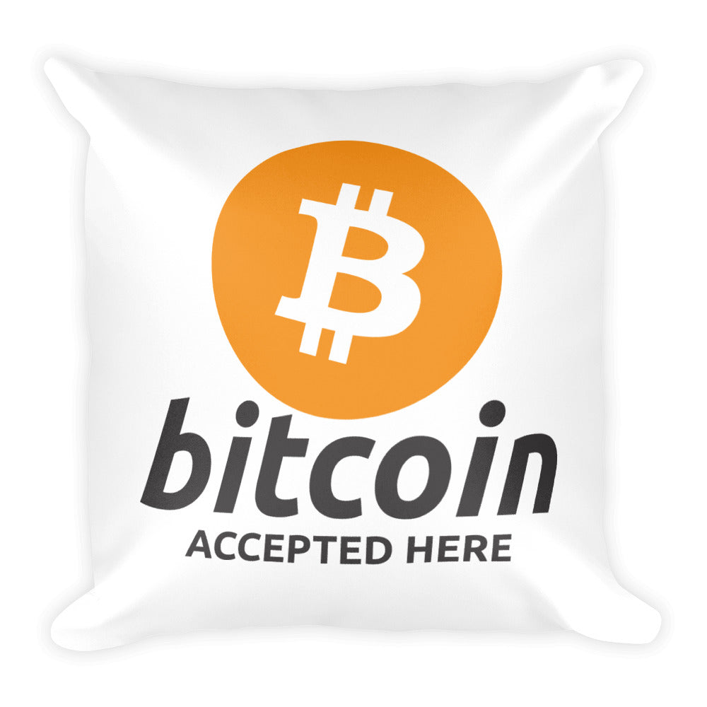 Bitcoin Accepted Here Pillow