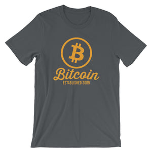 Bitcoin Established 2009 Bitcoin Logo Tshirt