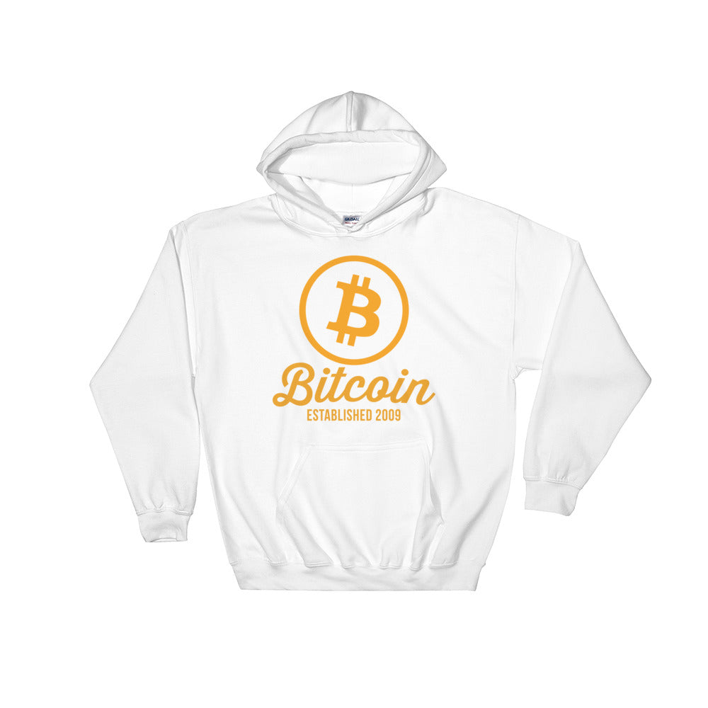 Bitcoin Logo Established 2009 Hoodie | White Hooded Sweater