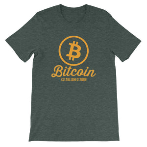 Bitcoin Circle Logo Established 2009 Tshirt | Green t shirt