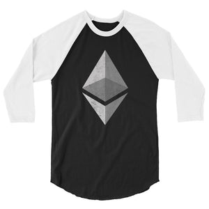 Ethereum Logo (Distressed) 3/4 sleeve raglan shirt