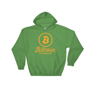Bitcoin Logo Established 2009 Hoodie | Green Hooded Sweater