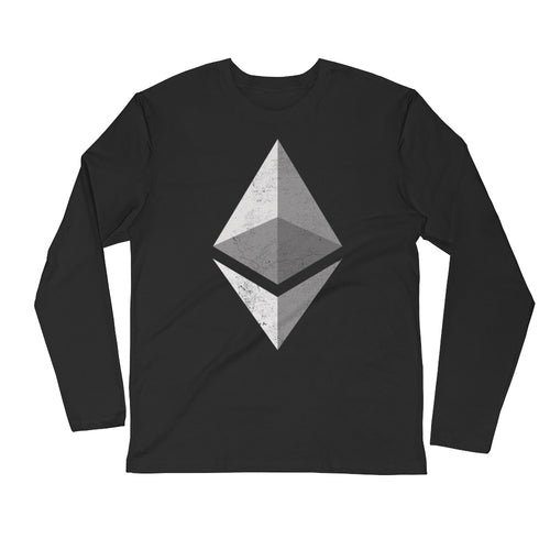 Ethereum Logo (Distressed) Long Sleeve Fitted Crew
