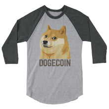 Dogecoin DOGE Distressed Crypto Shirt 3/4 sleeve raglan shirt