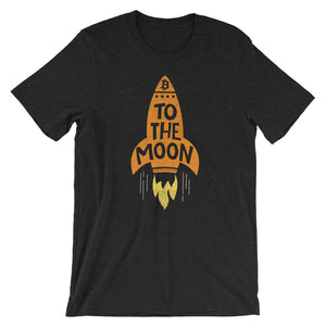 To The Moon Rocketship Bitcoin T Shirt Unisex | Vintage Textured Look BTC