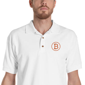 Classic Bitcoin Logo Embroidered Polo Shirt
