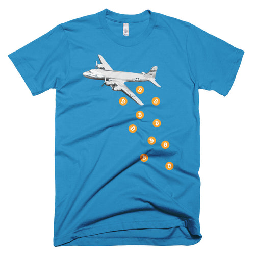 Unique Bitcoin Airplane Bomber Tshirt - BTC Logo - Blue t shirt