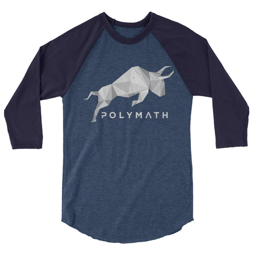 Polymath POLY Coin (Distressed) Logo Symbol Shirt 3/4 sleeve raglan shirt