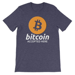 Bitcoin Accepted Here Logo / Symbol Short-Sleeve Unisex T-Shirt