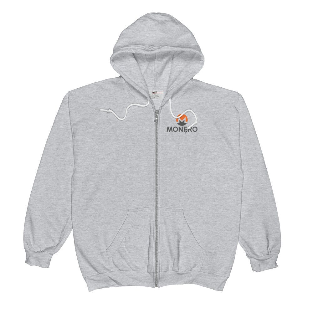 Monero Full-Zip Hoodie (Athletic Gray)