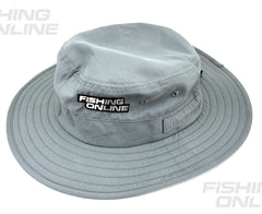 Fishing Online Wide Brim Sun Hat [Light Grey]