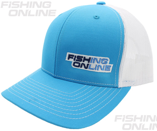 Fishing Online Trucker Hat Cyan/White