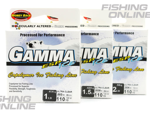 GAMMA ESP ICE Copolymer Ice Fishing Line - Ultra Clear - 1 lb - 1.5 lb - 2 lb