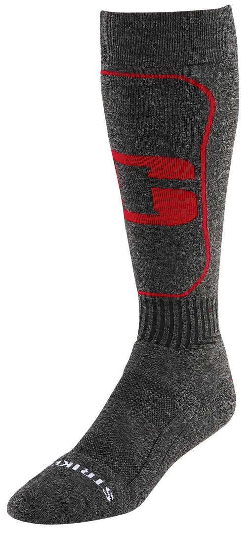 Striker Ice Moisture Wicking Wool Socks - Red and Grey - Side View