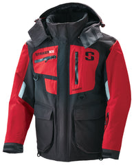 Striker Ice Climate Series Flotation Jacket - Red and Black - Front/Side View