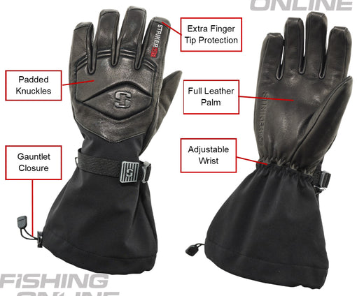 Striker Ice Combat Leather Gloves - Black - Front and Back View - Features Highlighted