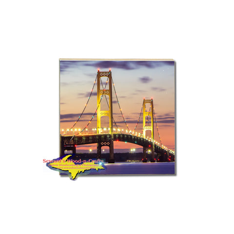 Michigan summer nights at Mackinac Bridge on a drink coaster