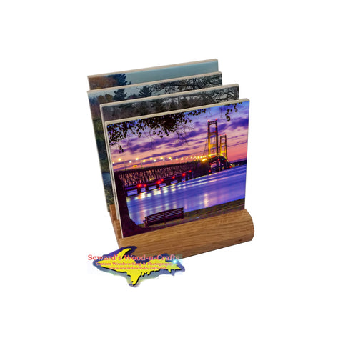 Mackinac Bridge coaster sets printed with amazing Michigan Photography