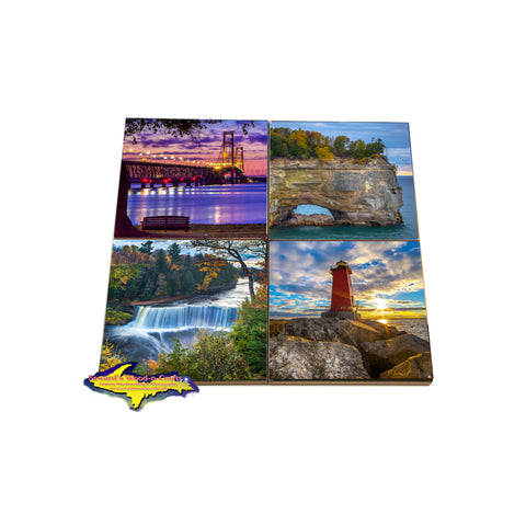 Shopping for Michigan coasters with Michigan themes