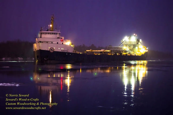 The great lake freighter Algosteel passing Rotary Park Sault Ste. Marie, Michigan