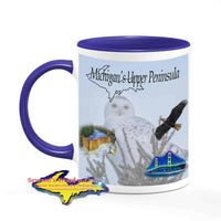 Michigan Made Wildlife Mugs Michigan's Upper Peninsula Snowy Owl Coffee Cup