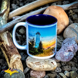 Crisp Point Lighthouse Michigan's Upper Peninsula 11oz Coffee Cup! Michigan Made Yooper gifts & collectibles. Microwave and dishwasher safe kitchenware