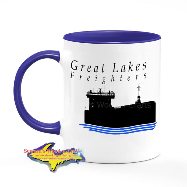 Great Lakes Freighters Mugs Beautiful Freighter Silhouette Coffee Cup