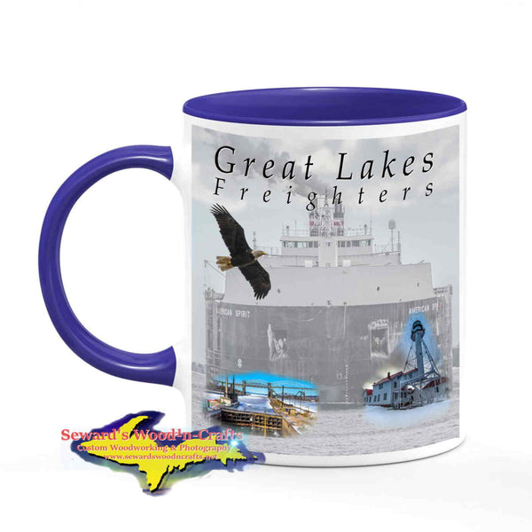 Great Lakes Freighters Mugs American Spirit Coffee Cup Gifts For Boat Fans