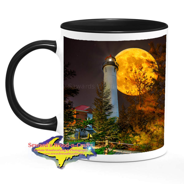 Michigan Made Coffee Cup Mug Full Moon Rising Over Crisp Point Lighthouse
