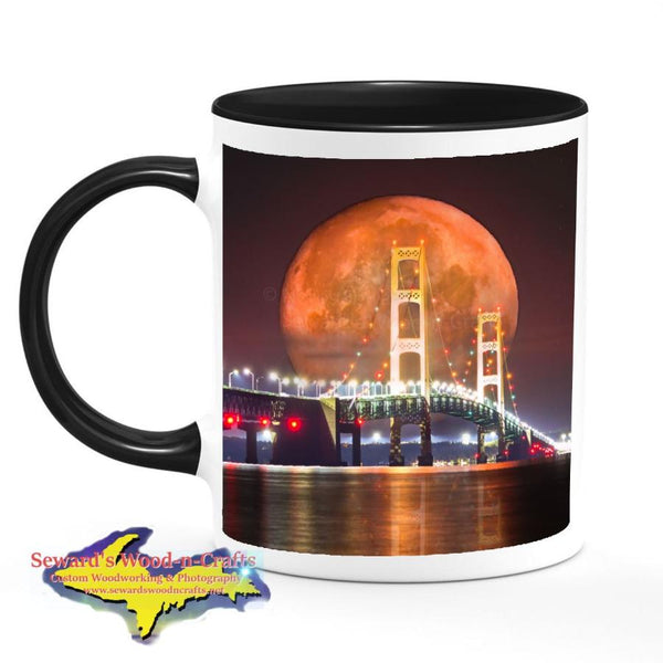 Michigan Made Coffee Cup/Mug Mackinac Bridge Full Blood Wolf Moon Digital Art Composite
