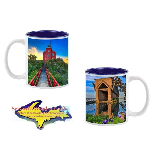 Michigan Made Coffee Cup Marquette Michigan Coffee Cup With Lighthouse & Ore Dock
