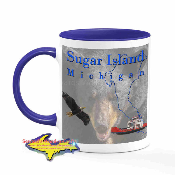 Michigan Made Mugs Sugar Island Michigan Coffee Cup Black Bear Yooper gifts & collectibles