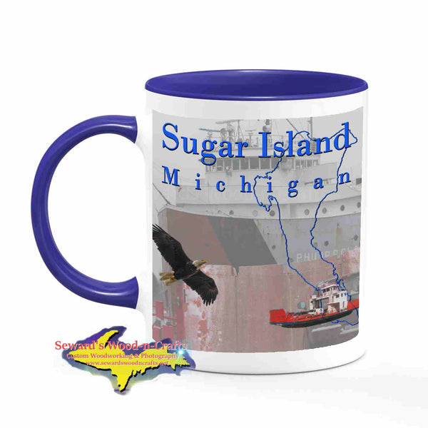 Michigan Made Mugs Sugar Island Michigan Coffee Cup Wildlife Freighter Philip Clarke Yooper gifts