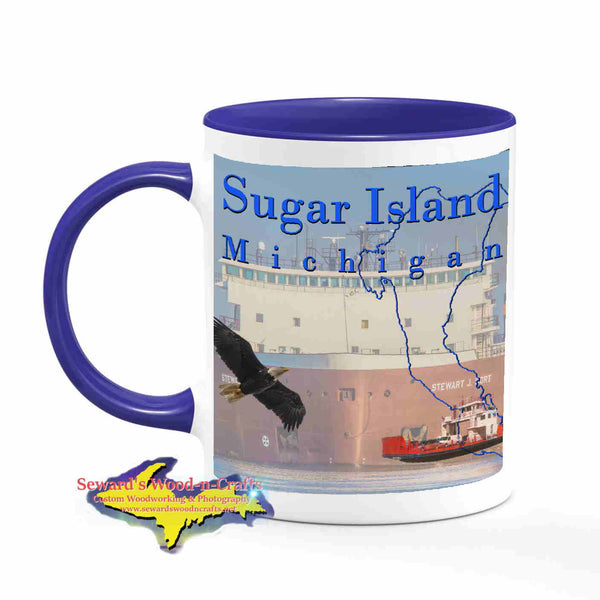 Michigan Made Mugs Sugar Island Michigan Coffee Cup Freighter Stewart Cort Yooper gifts
